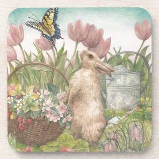 illustrated spring bunny in garden coaster