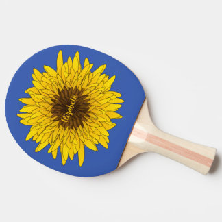 illustrated sunflower with custom name ping pong paddle