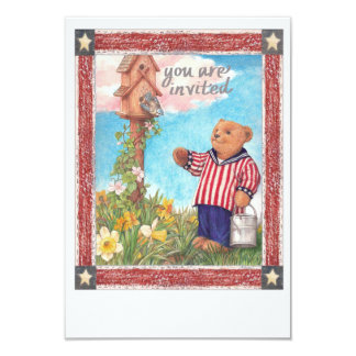 Illustrated Teddybear Patriotic Party Card