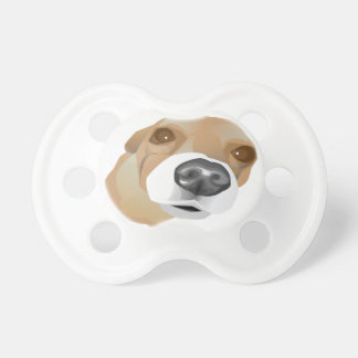 Illustrated vector portrait of a little dog baby pacifier