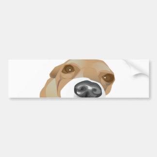 Illustrated vector portrait of a little dog bumper sticker