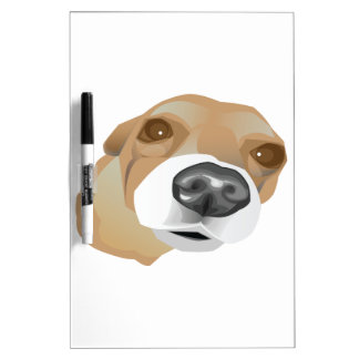 Illustrated vector portrait of a little dog dry erase whiteboard