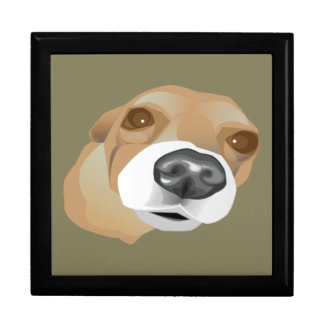 Illustrated vector portrait of a little dog gift box