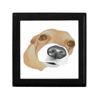 Illustrated vector portrait of a little dog jewelry boxes