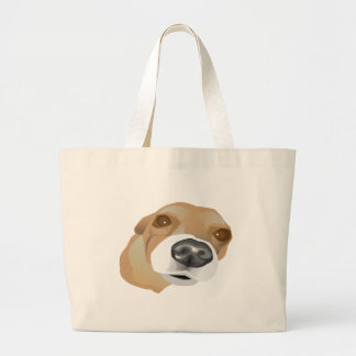 Illustrated vector portrait of a little dog large tote bag