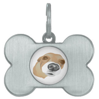 Illustrated vector portrait of a little dog pet tags