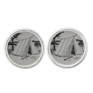 Illustrated Vintage Camping Cuff links