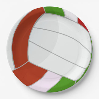 Illustrated Volleyball design Paper Plate