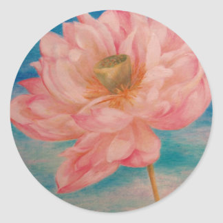 illustrated waterlily blue & pink custom classic round sticker