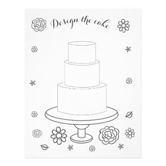 Illustrated Wedding Activity Cake Coloring Page Personalized Letterhead