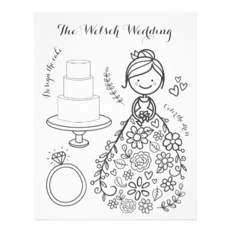Illustrated Wedding Activity Coloring Page Customized Letterhead