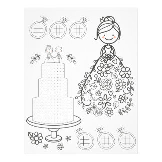 Illustrated wedding activity coloring page letterhead