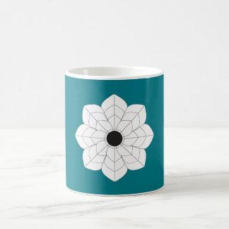 Illustrated White Lily Turquoise Mug