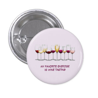 Illustrated Wine Glasses 1 Inch Round Button