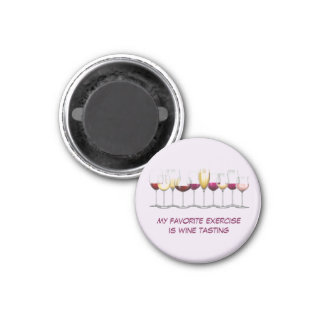 Illustrated Wine Glasses 1 Inch Round Magnet