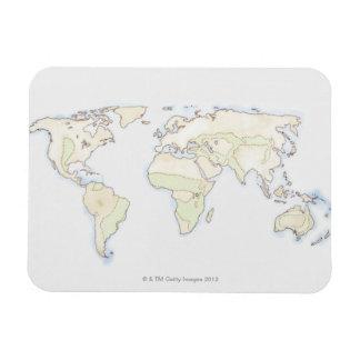 Illustrated World Map 2 Rectangular Photo Magnet