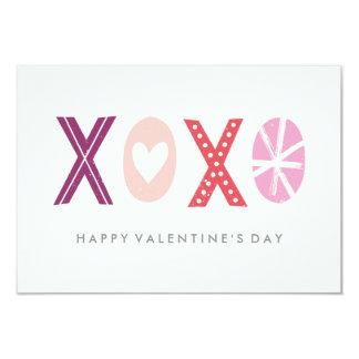 "Illustrated XOXO Classroom Valentine - Plum 3.5"" X 5"" Invitation Card"
