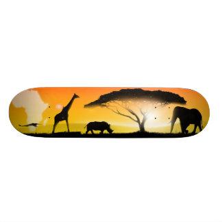 Illustration african landscape skateboards