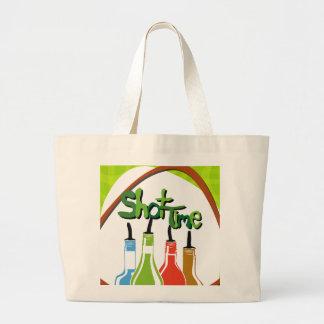 Illustration Alcohol bottles at a bar Large Tote Bag