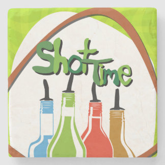 Illustration Alcohol bottles at a bar Stone Coaster