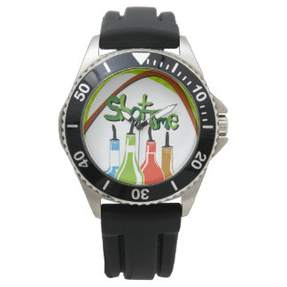 Illustration Alcohol bottles at a bar Wrist Watches