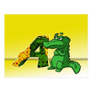 Illustration alligator postcard