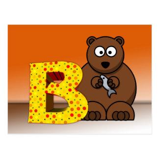 Illustration bear postcard