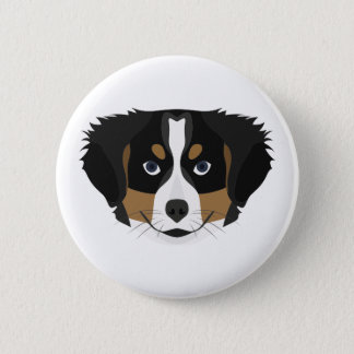 Illustration Bernese Mountain Dog 2 Inch Round Button