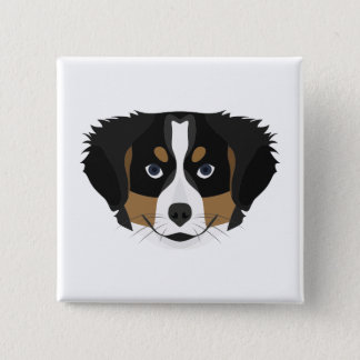 Illustration Bernese Mountain Dog 2 Inch Square Button