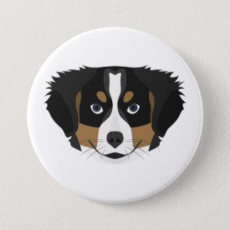 Illustration Bernese Mountain Dog 3 Inch Round Button