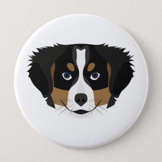 Illustration Bernese Mountain Dog 4 Inch Round Button