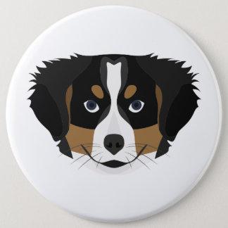 Illustration Bernese Mountain Dog 6 Inch Round Button