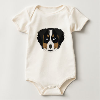 Illustration Bernese Mountain Dog Baby Bodysuit