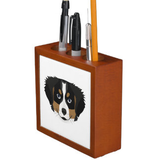 Illustration Bernese Mountain Dog Desk Organizer