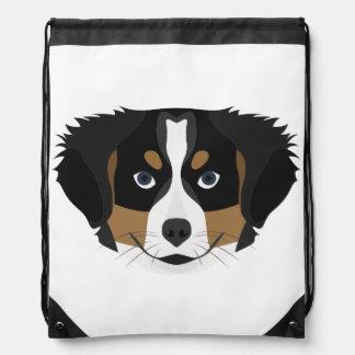 Illustration Bernese Mountain Dog Drawstring Bag