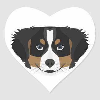 Illustration Bernese Mountain Dog Heart Sticker