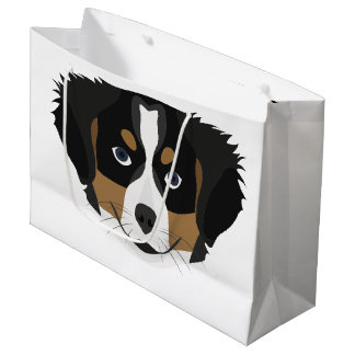 Illustration Bernese Mountain Dog Large Gift Bag