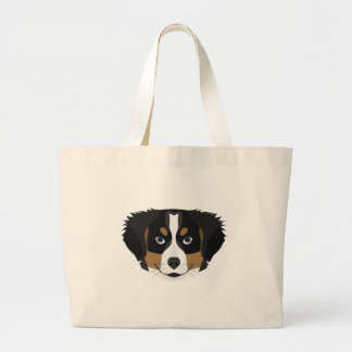 Illustration Bernese Mountain Dog Large Tote Bag