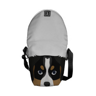Illustration Bernese Mountain Dog Messenger Bag