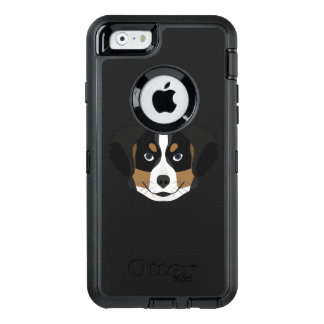 Illustration Bernese Mountain Dog OtterBox Defender iPhone Case