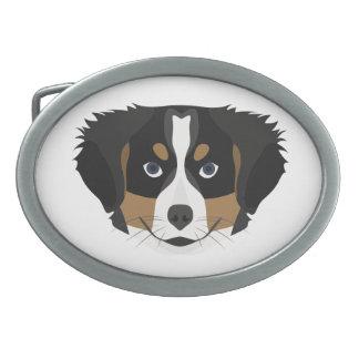 Illustration Bernese Mountain Dog Oval Belt Buckles