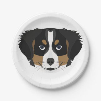 Illustration Bernese Mountain Dog Paper Plate