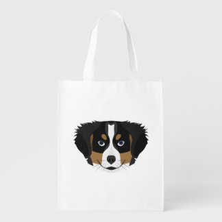 Illustration Bernese Mountain Dog Reusable Grocery Bag