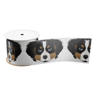 Illustration Bernese Mountain Dog Satin Ribbon