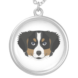 Illustration Bernese Mountain Dog Silver Plated Necklace