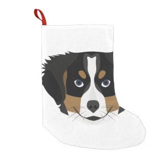 Illustration Bernese Mountain Dog Small Christmas Stocking