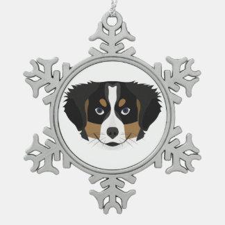 Illustration Bernese Mountain Dog Snowflake Pewter Christmas Ornament
