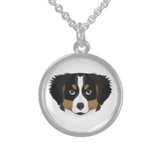 Illustration Bernese Mountain Dog Sterling Silver Necklace