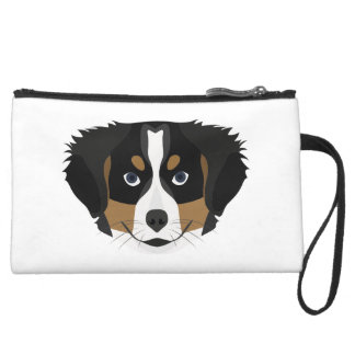Illustration Bernese Mountain Dog Suede Wristlet