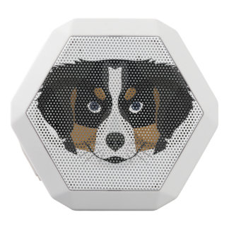 Illustration Bernese Mountain Dog White Bluetooth Speaker